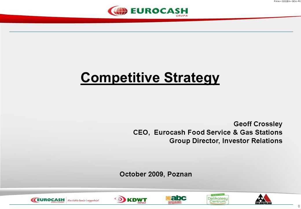 Objectives today Give you a brief introduction to Eurocash. Share a personal view of the changing context we strategize in.