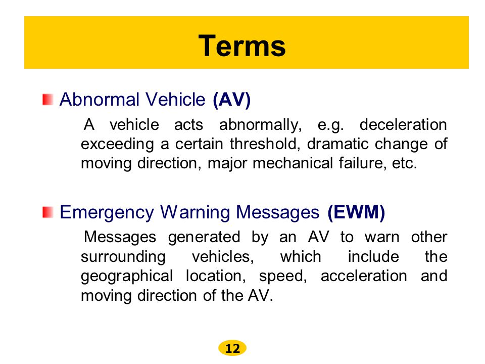 Terms Abnormal Vehicle (AV) Emergency Warning Messages (EWM)