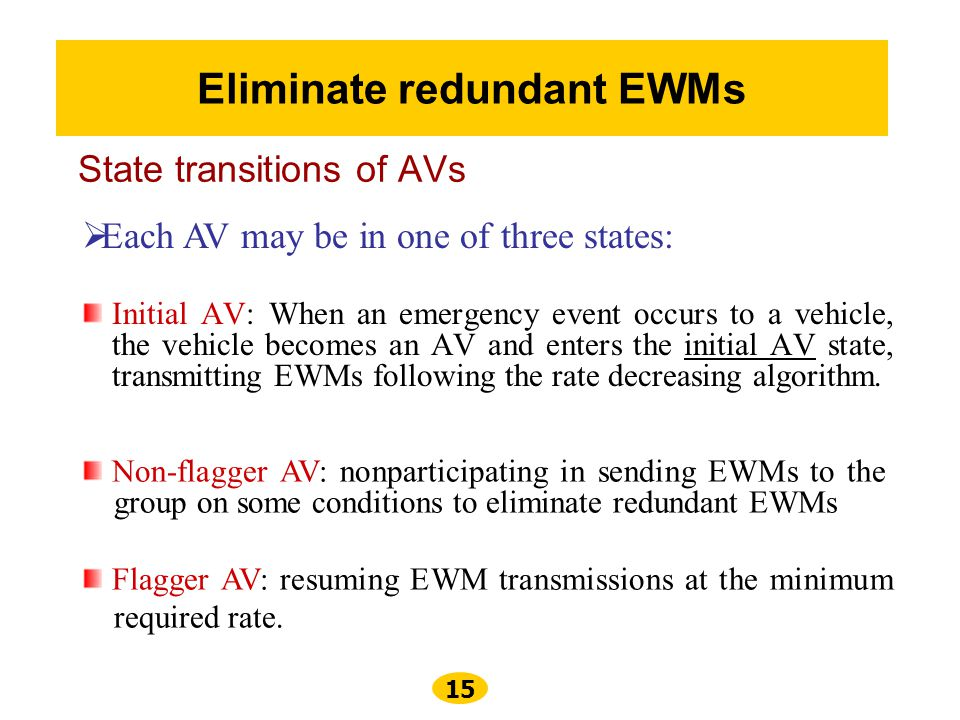 State transitions of AVs