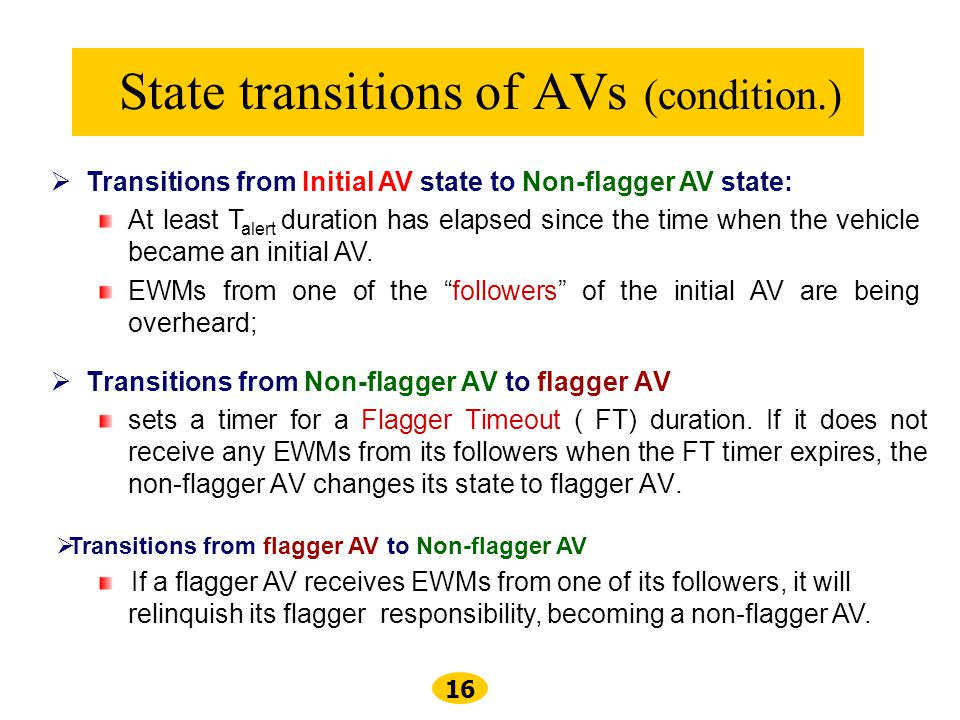 State transitions of AVs (condition.)
