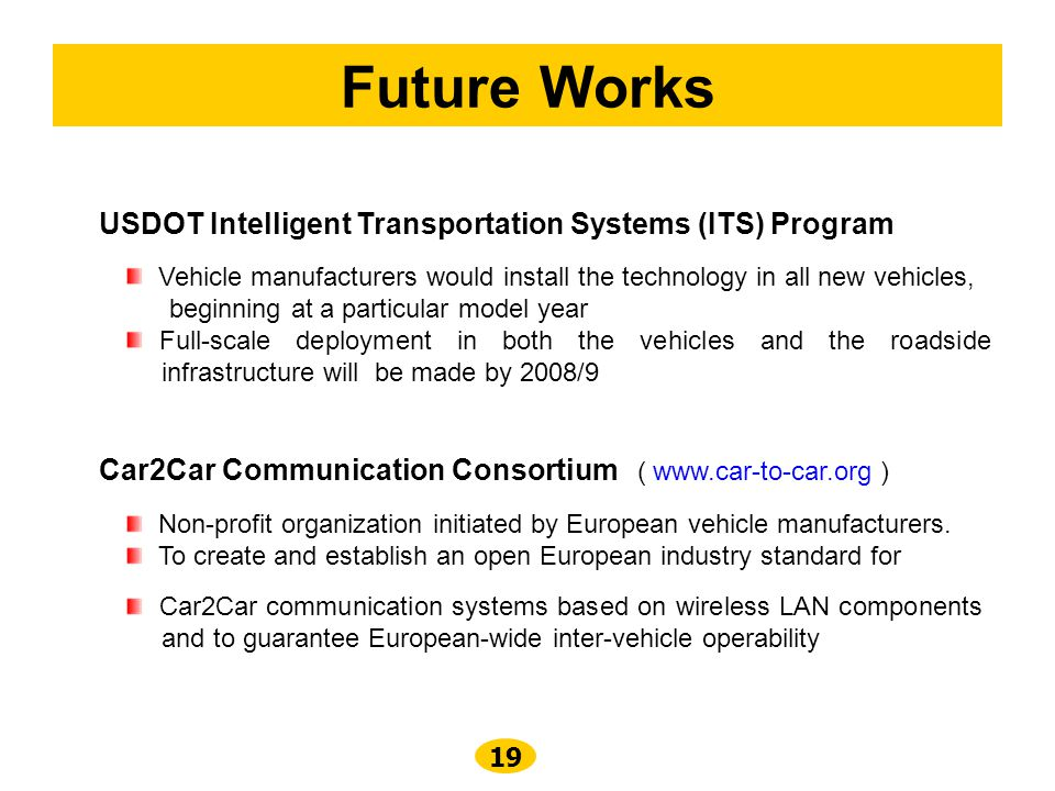 Future Works USDOT Intelligent Transportation Systems (ITS) Program