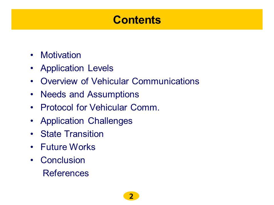 Contents Motivation Application Levels