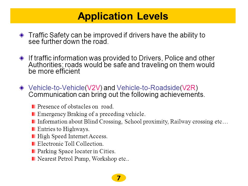 Application Levels Traffic Safety can be improved if drivers have the ability to see further down the road.