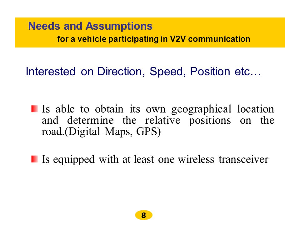for a vehicle participating in V2V communication
