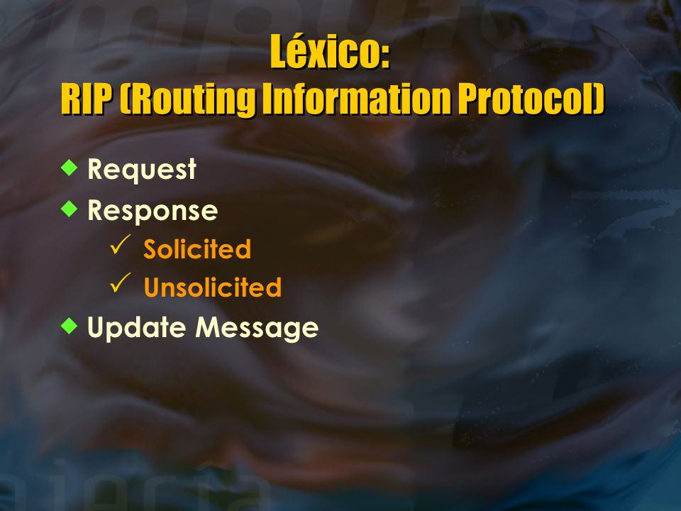 Léxico: RIP (Routing Information Protocol)