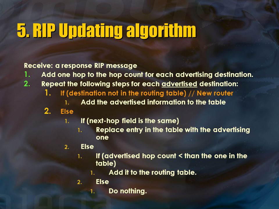 5. RIP Updating algorithm
