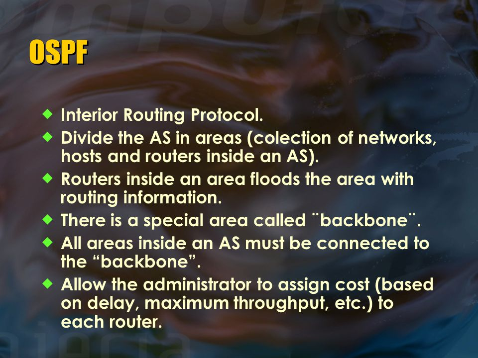OSPF Interior Routing Protocol.