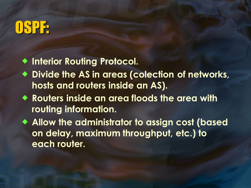 OSPF: Interior Routing Protocol.