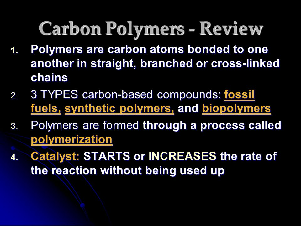 Carbon Polymers - Review