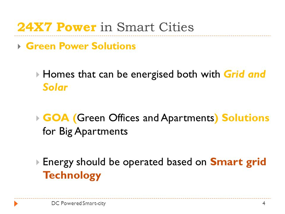 24X7 Power in Smart Cities Green Power Solutions. Homes that can be energised both with Grid and Solar.
