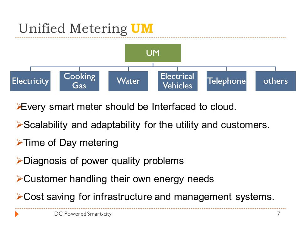 Unified Metering UM Every smart meter should be Interfaced to cloud.