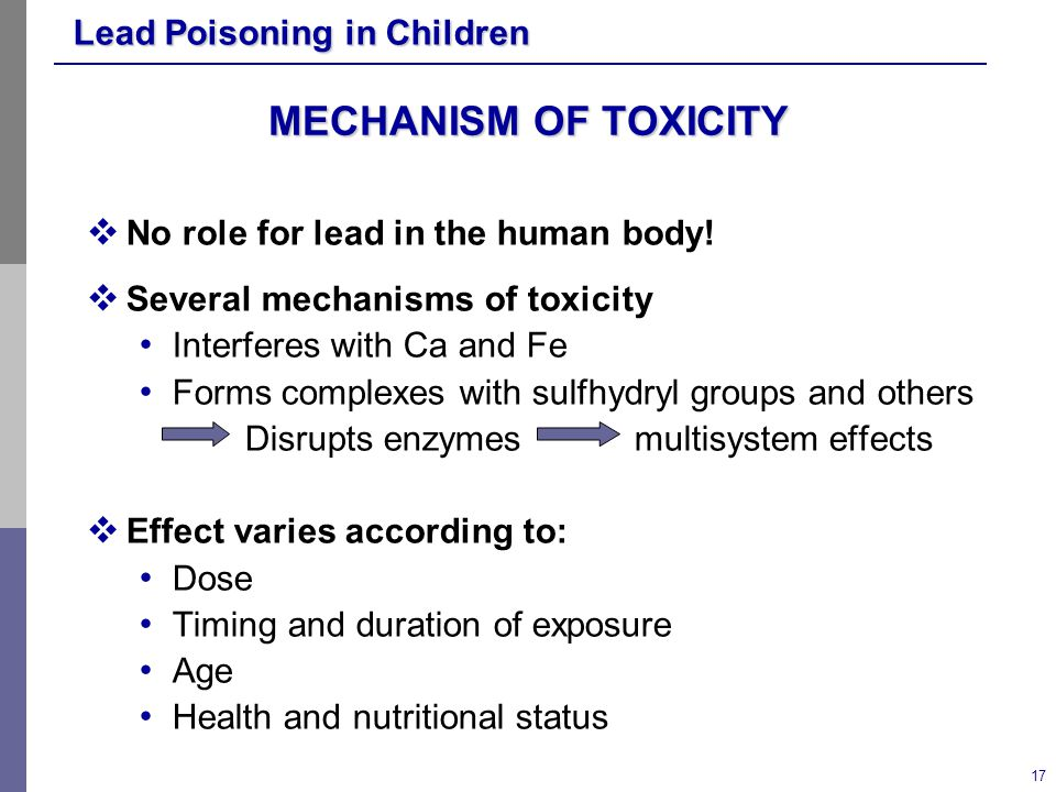 MECHANISM OF TOXICITY No role for lead in the human body!