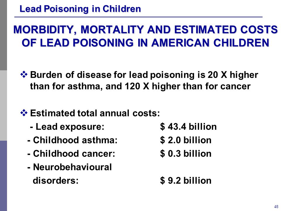 MORBIDITY, MORTALITY AND ESTIMATED COSTS OF LEAD POISONING IN AMERICAN CHILDREN