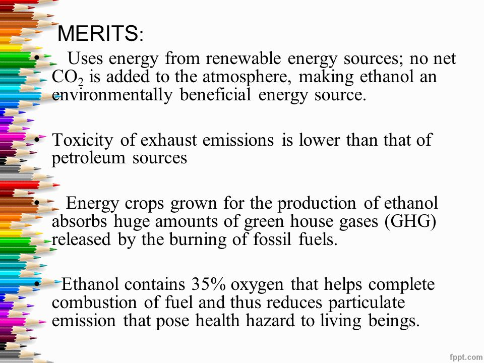an essay on ethanol an alternative energy source We might also compare the eroei of ethanol to the eroei of alternative sources of additional liquid fuels for our vehicles in this case, alternatives would most likely involve ramping up production from canada's oil sands.
