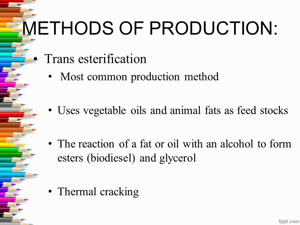 METHODS OF PRODUCTION: