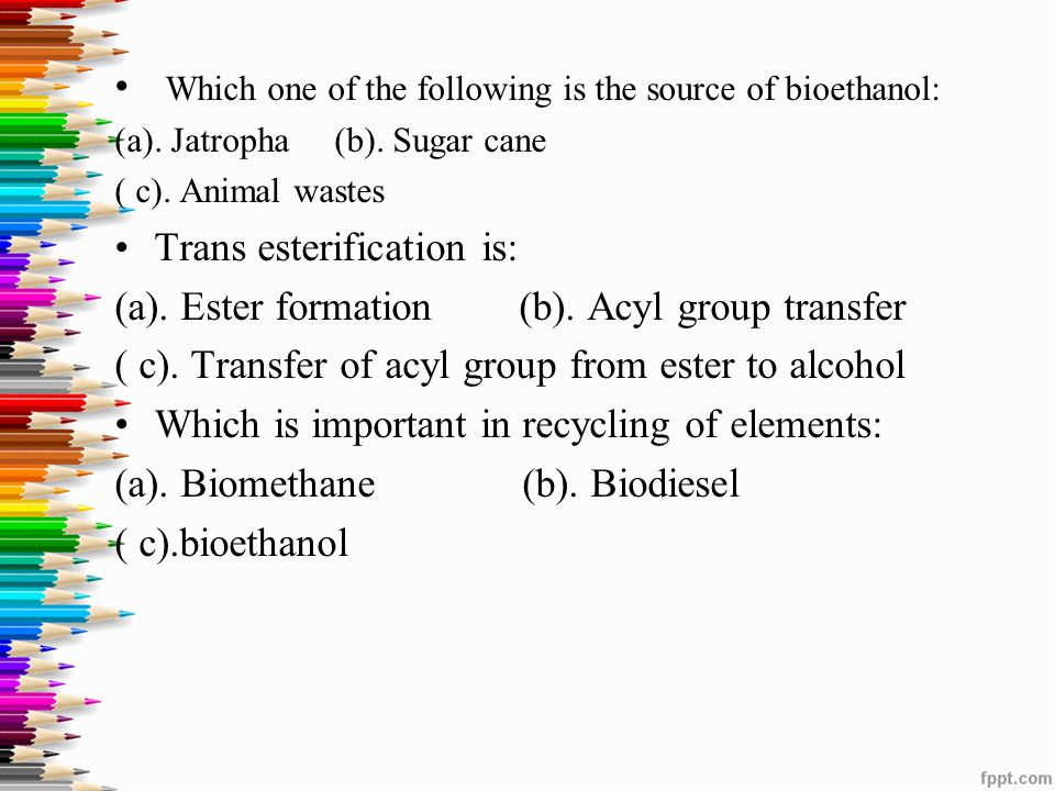 Which one of the following is the source of bioethanol: