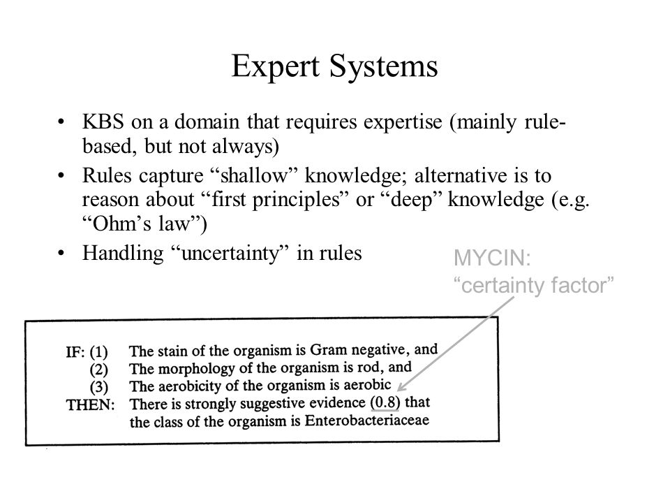 Expert Systems KBS on a domain that requires expertise (mainly rule-based, but not always)