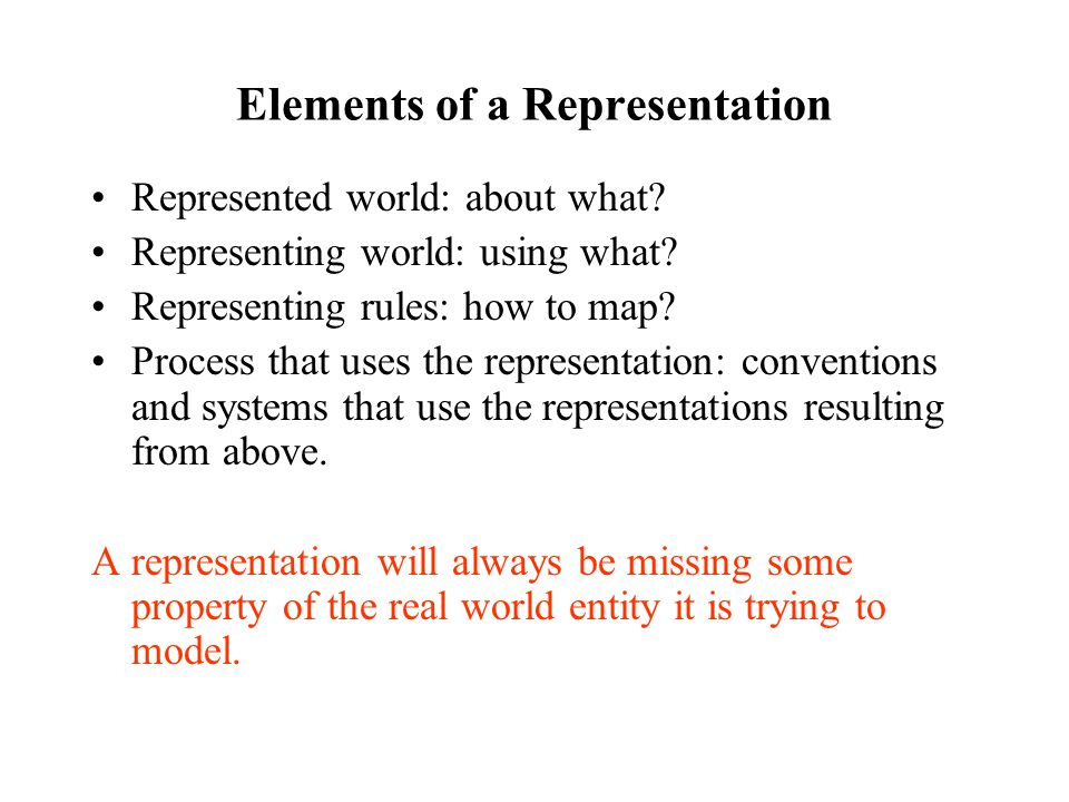 Elements of a Representation