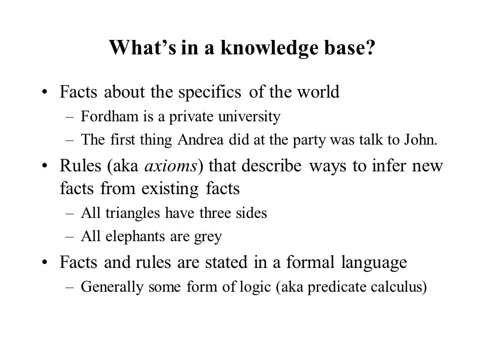 What's in a knowledge base