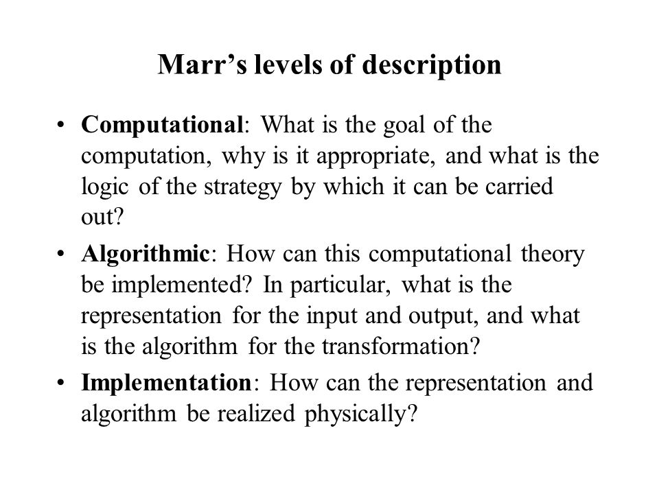 Marr's levels of description