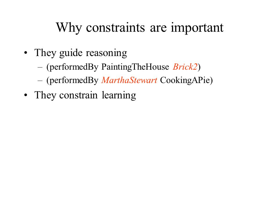 Why constraints are important