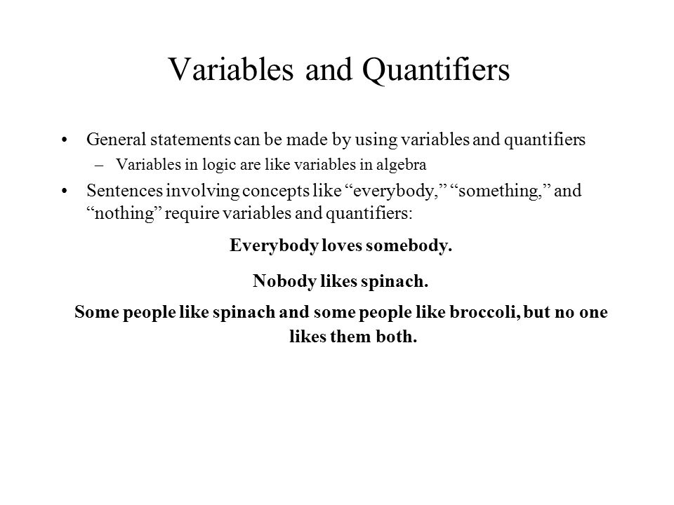 Variables and Quantifiers