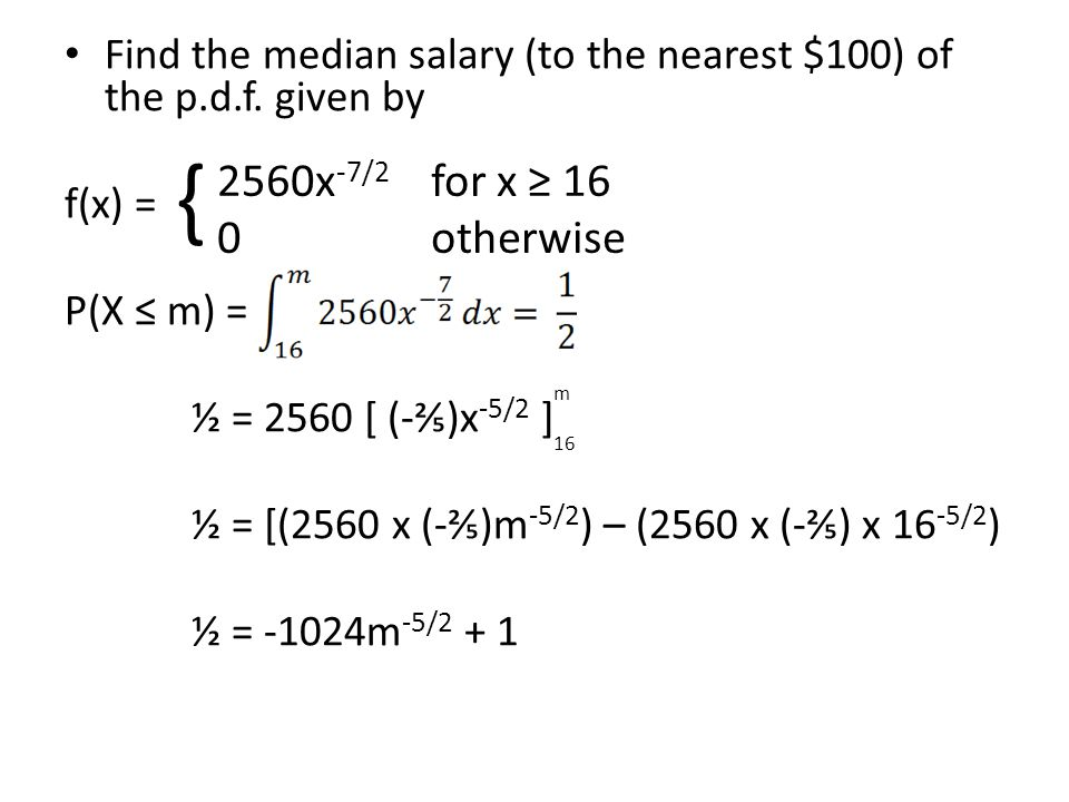 Find the median salary (to the nearest $100) of the p.d.f. given by