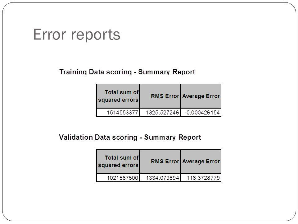 Error reports