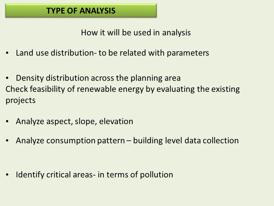 How it will be used in analysis