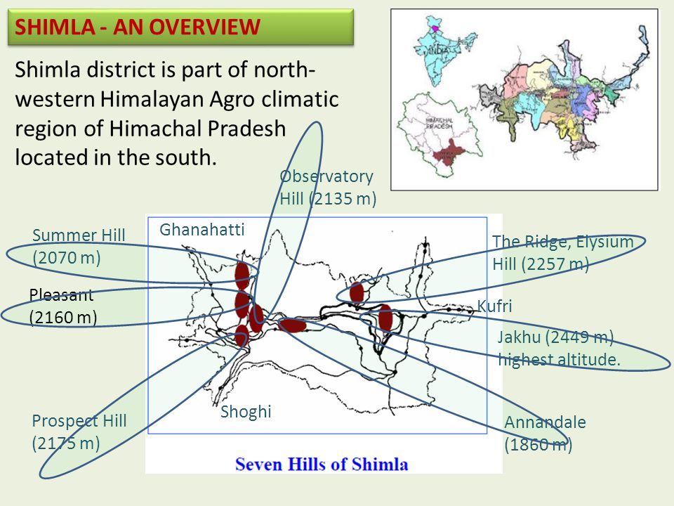 SHIMLA - AN OVERVIEW Shimla district is part of north-western Himalayan Agro climatic region of Himachal Pradesh located in the south.