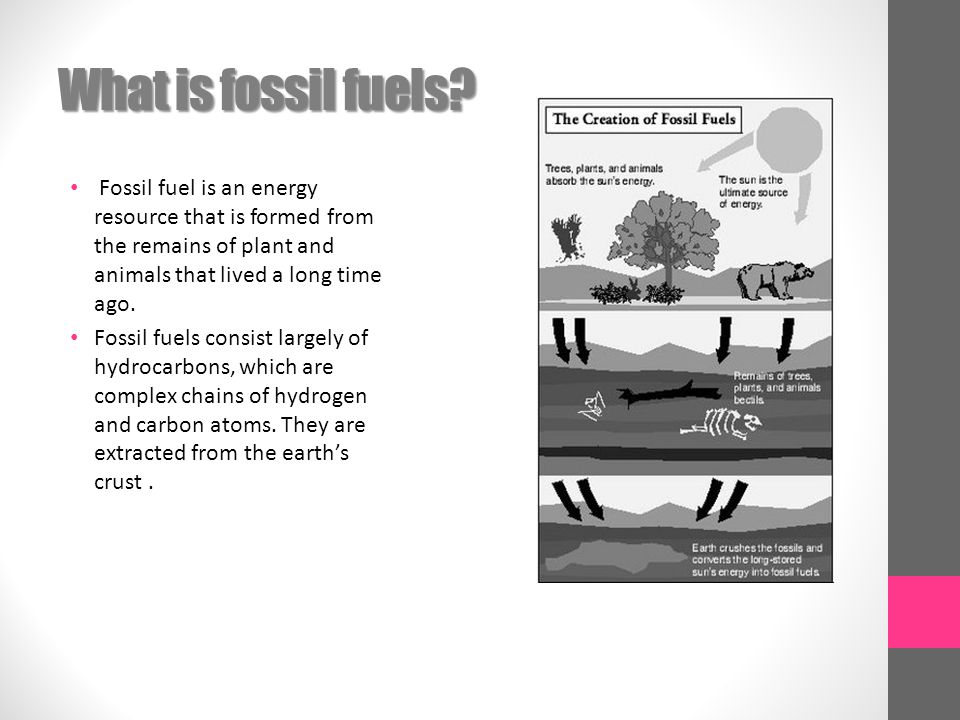 What is fossil fuels Fossil fuel is an energy resource that is formed from the remains of plant and animals that lived a long time ago.