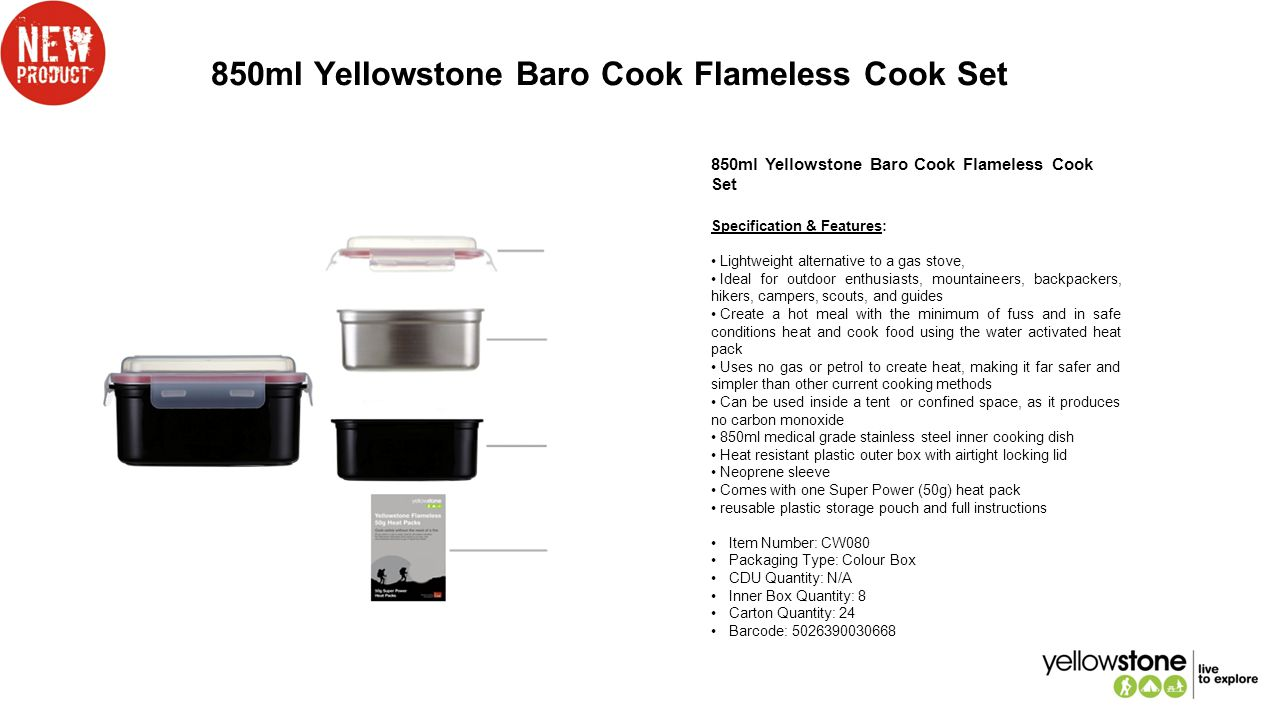 850ml Yellowstone Baro Cook Flameless Cook Set