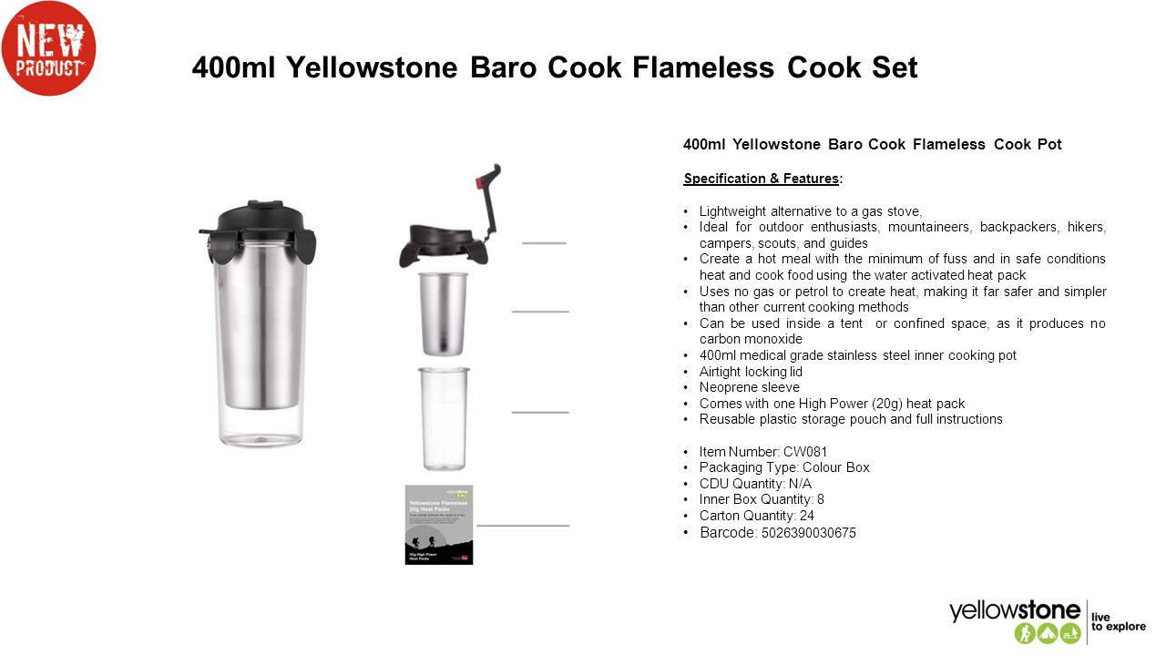 400ml Yellowstone Baro Cook Flameless Cook Set