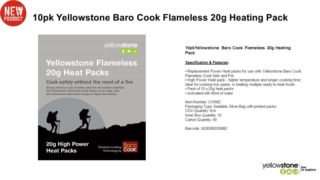10pk Yellowstone Baro Cook Flameless 20g Heating Pack