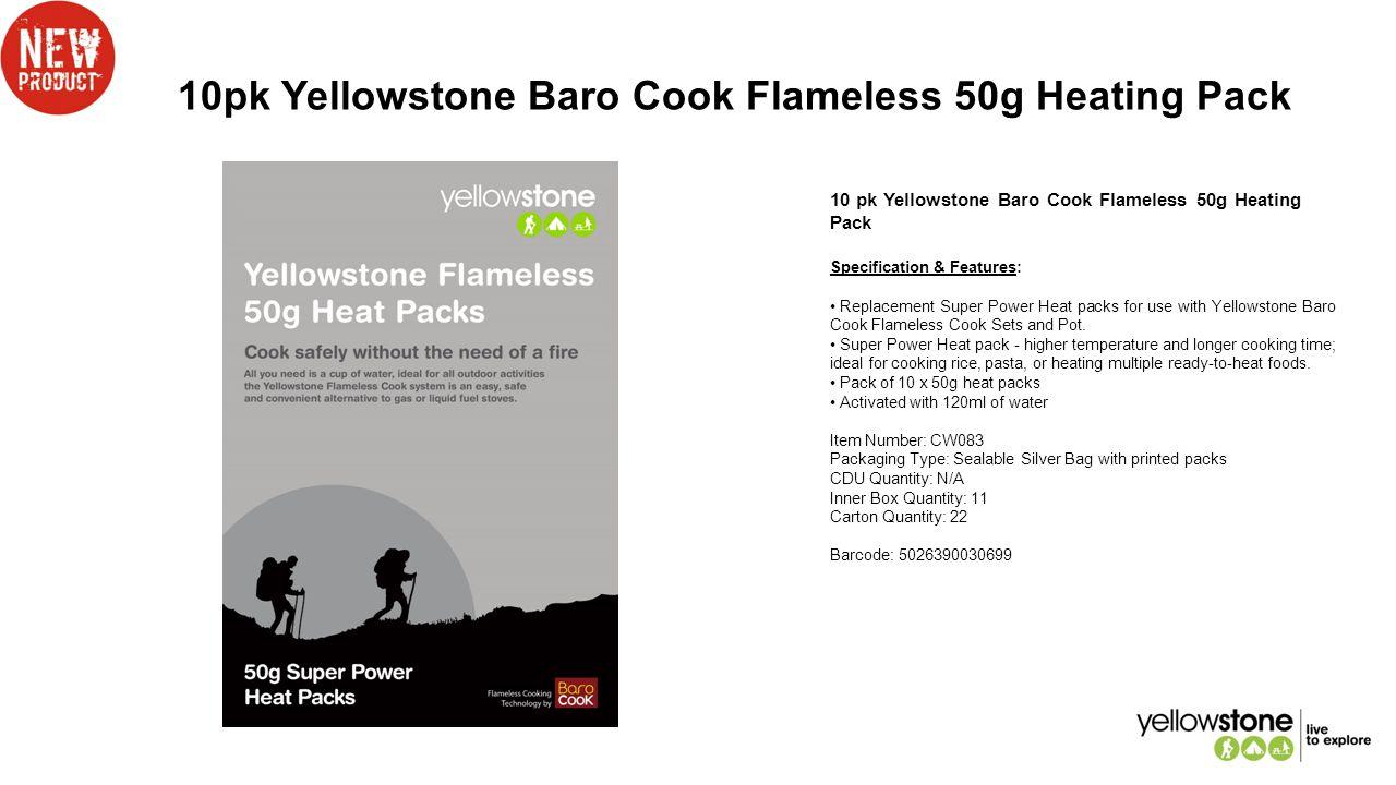 10pk Yellowstone Baro Cook Flameless 50g Heating Pack