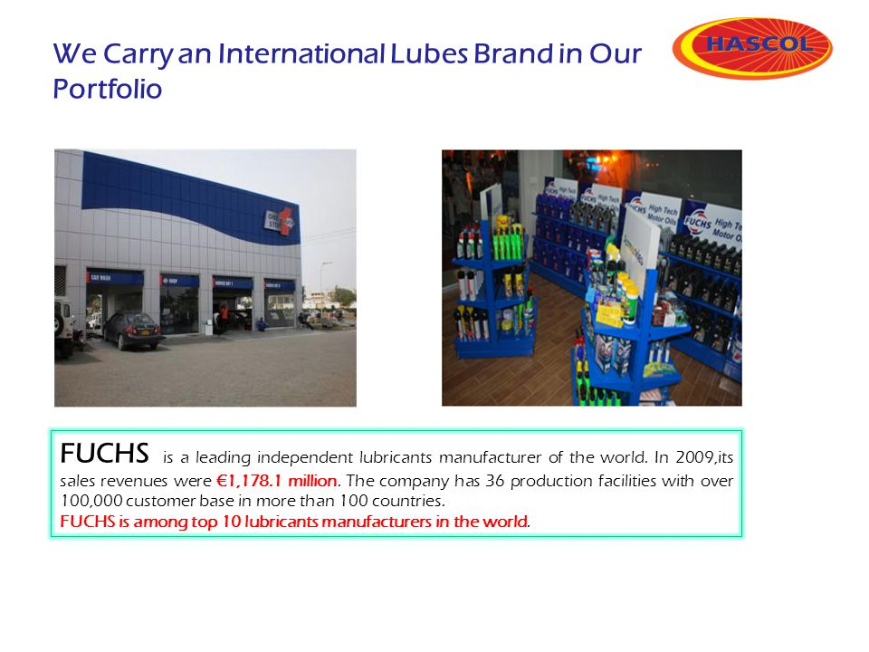 We Carry an International Lubes Brand in Our Portfolio