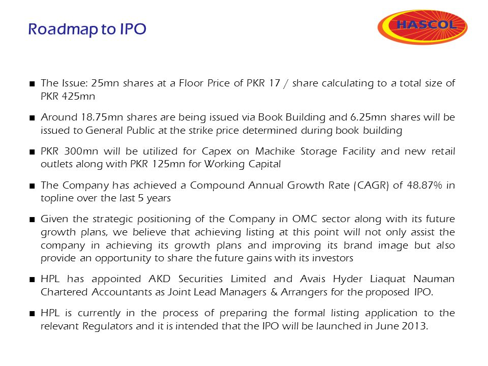 Roadmap to IPO The Issue: 25mn shares at a Floor Price of PKR 17 / share calculating to a total size of PKR 425mn.