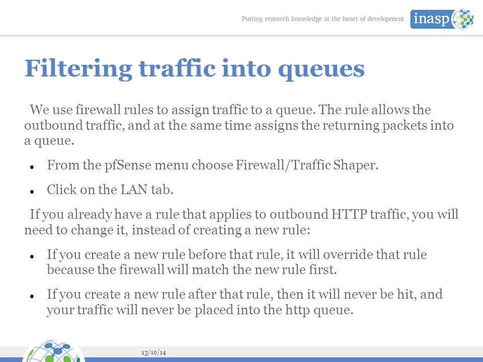 Filtering traffic into queues