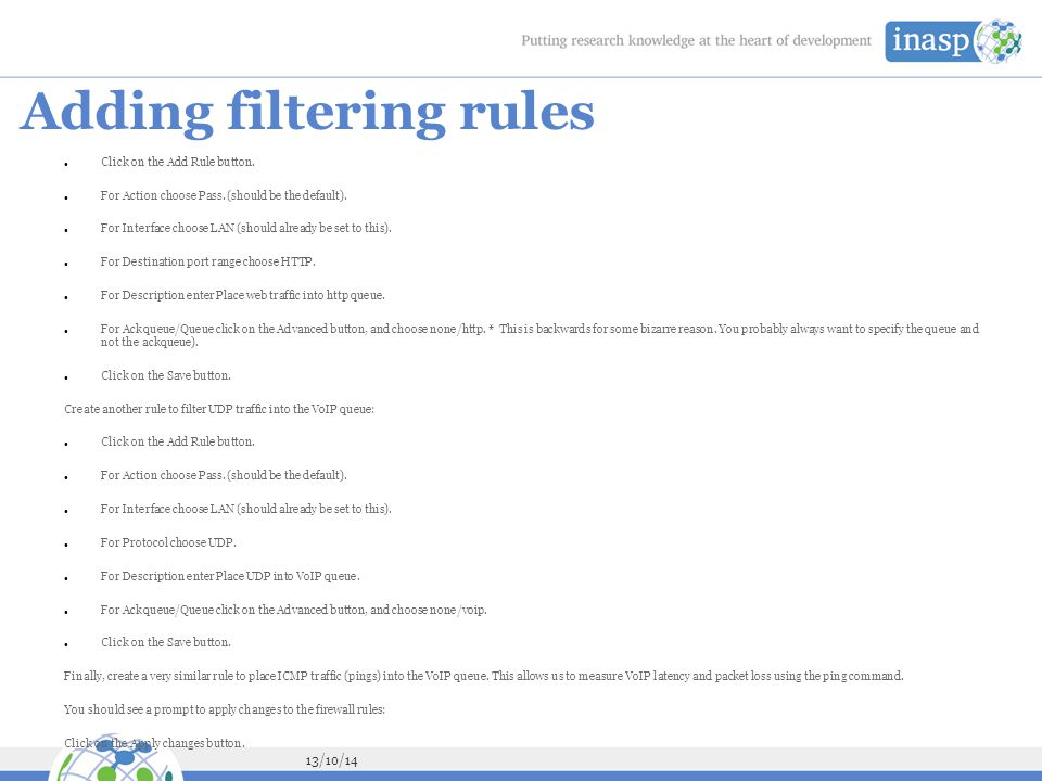 Adding filtering rules