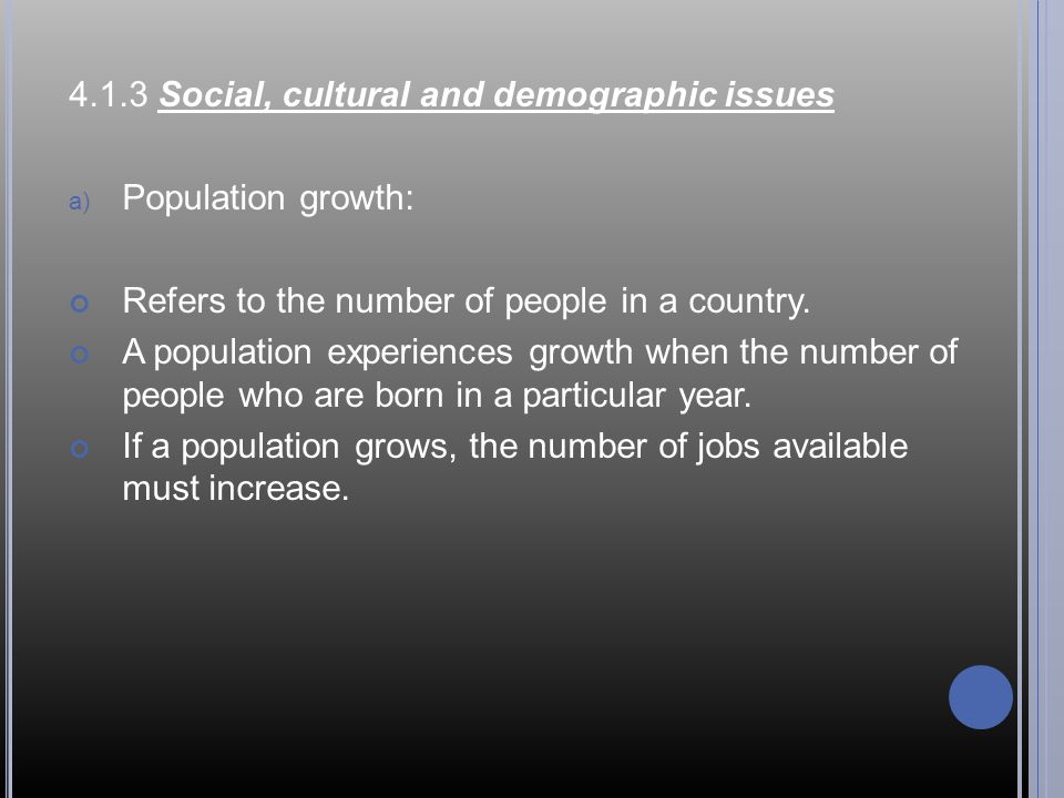 4.1.3 Social, cultural and demographic issues