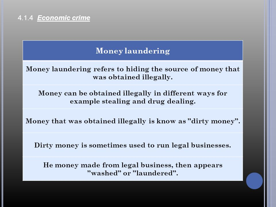 Money laundering 4.1.4 Economic crime