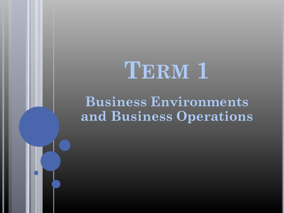 Business Environments and Business Operations