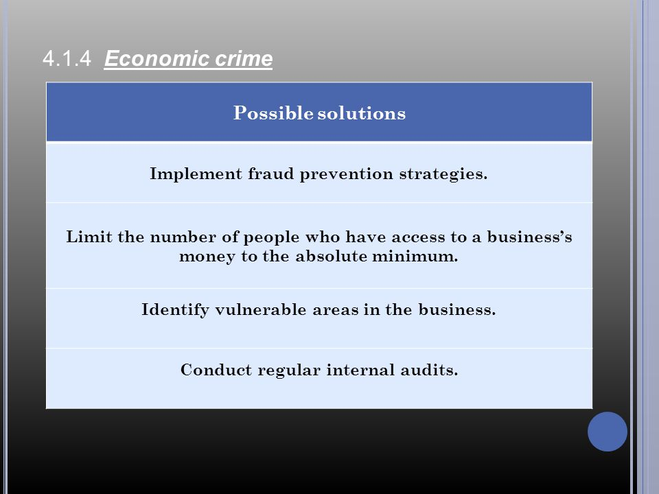 4.1.4 Economic crime Possible solutions