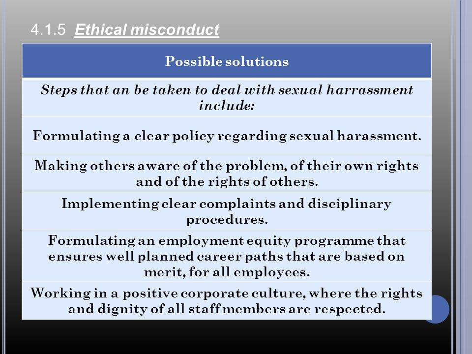 4.1.5 Ethical misconduct Possible solutions