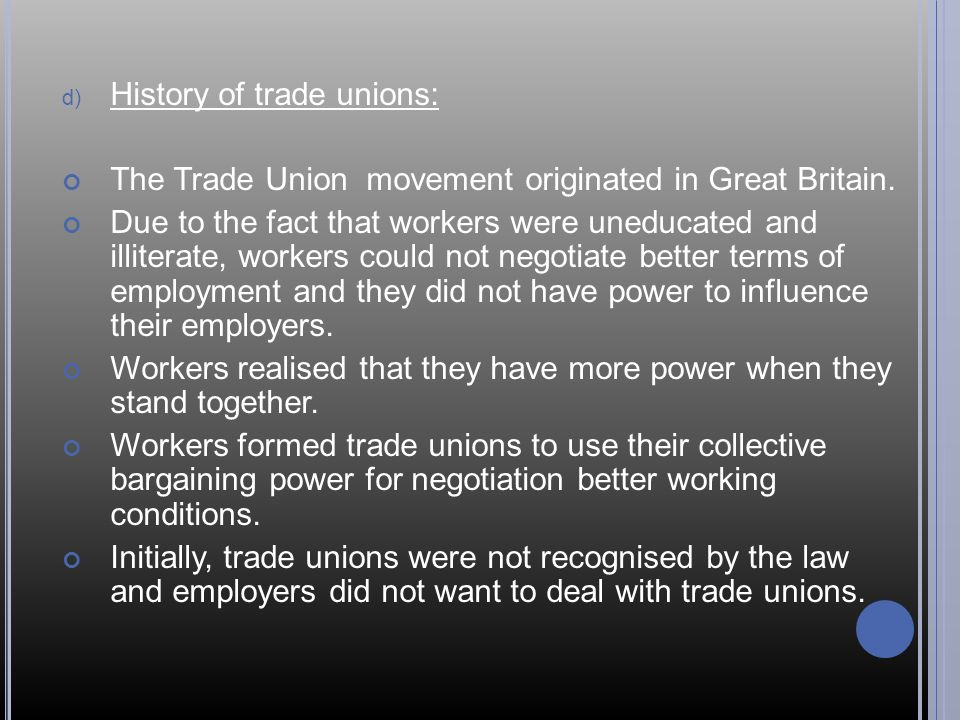 History of trade unions: