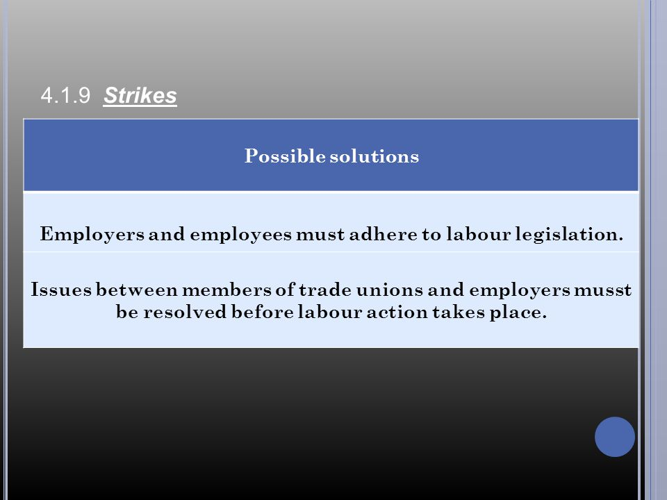Employers and employees must adhere to labour legislation.
