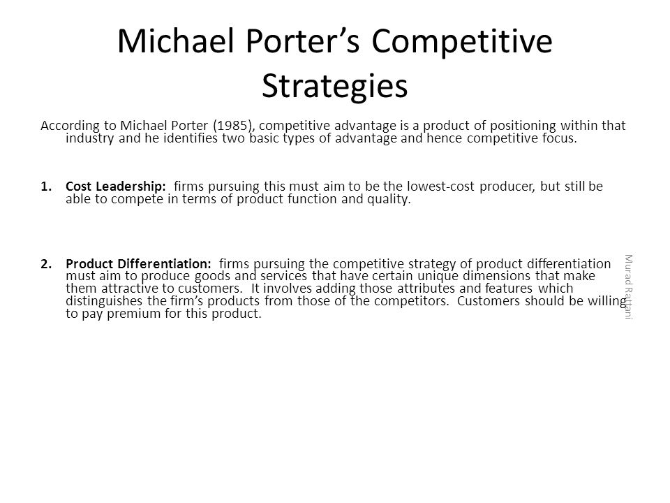 Michael Porter's Competitive Strategies