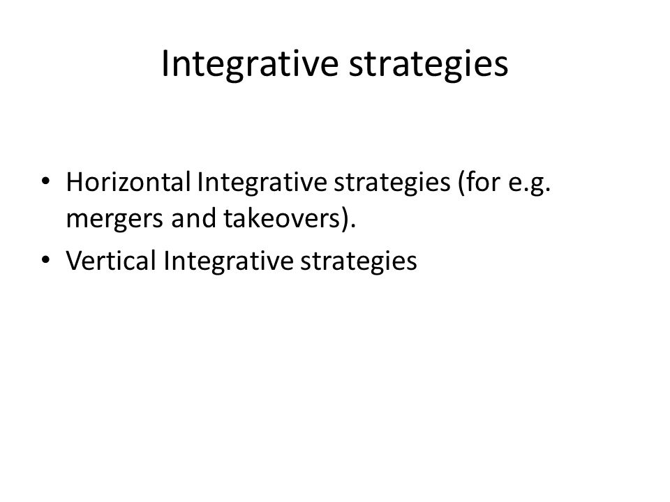 Integrative strategies