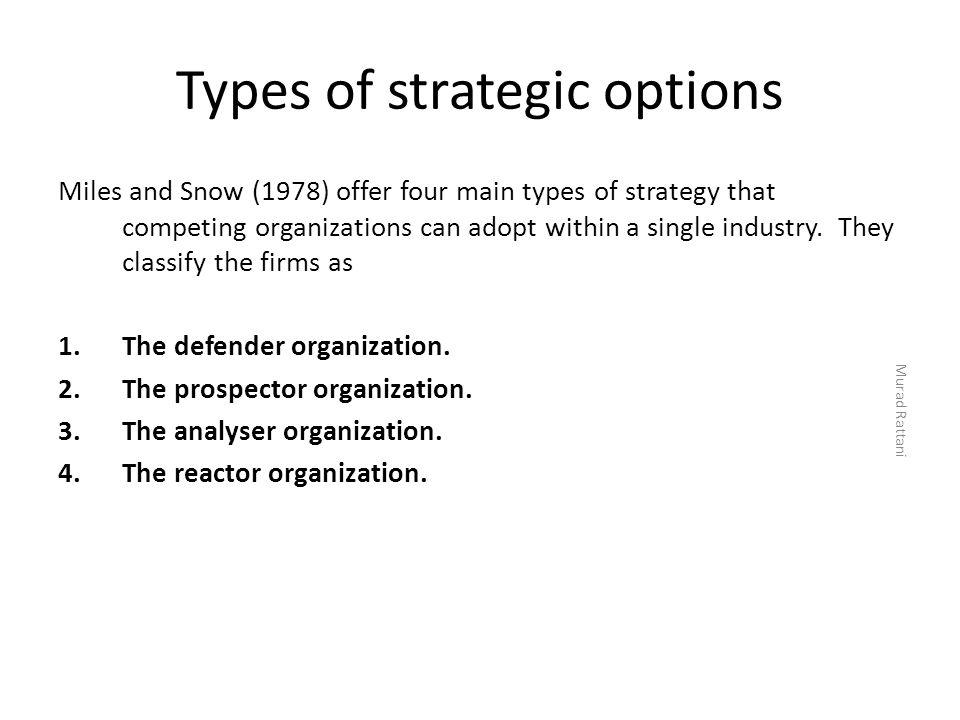 Types of strategic options