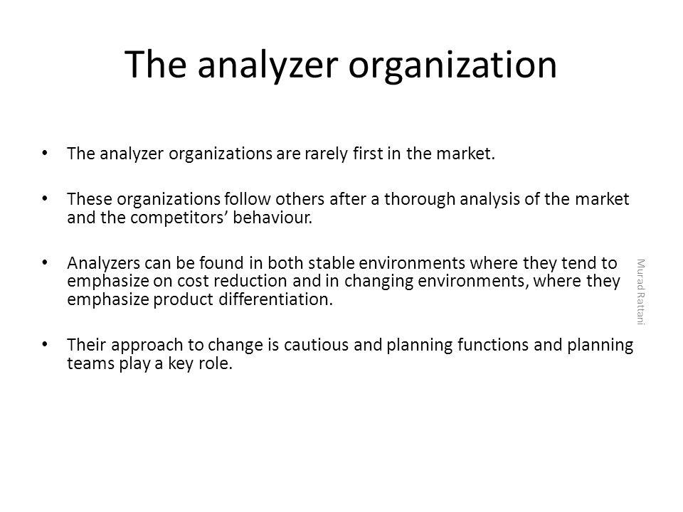 The analyzer organization
